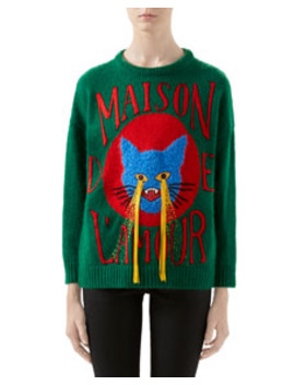 Cat Patch Wool Sweater by Gucci