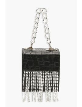 Diamante Fringe Box Clutch Bag & Chunky Chain by Boohoo