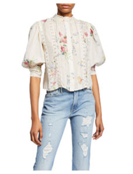 Tegan Cropped Lace Floral Top by Love Shack Fancy
