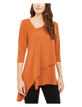 Asymmetrical Hem 3/4 Sleeve Top, Created For Macy's by General