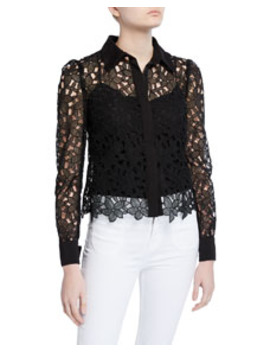 Eleanora Floral Guipure Lace Button Down Top by Milly