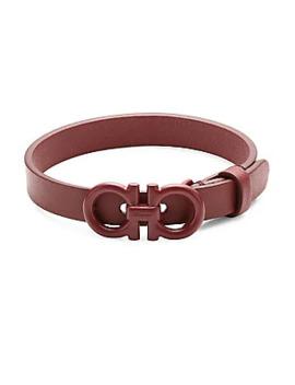 Double Gancini Leather Bracelet by Salvatore Ferragamo