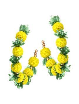 22 K Goldplated Pineapple Hoop Earrings by Kenneth Jay Lane