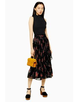 Black Floral Metallic Thread Wrap Skirt by Topshop