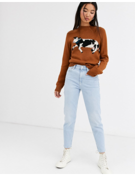Rachel Antonoff Bessie Raglan Cow Print Sweater by Sweater