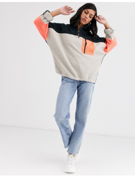 Monki Colour Block Zip Neck Fleece Sweater In Multi by Monki