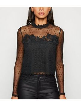 Black Mesh And Lace Long Sleeve Top by New Look