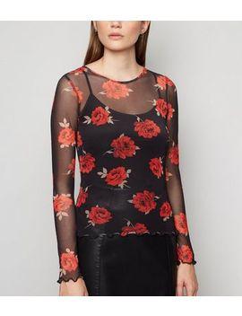 Black Mesh Rose Print Long Sleeve Top by New Look