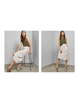 Eyelet Detail Asymmetric Midi Skirt by Ted Baker