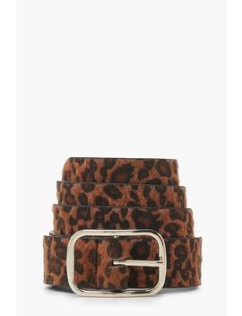 Leopard Print Buckle Belt by Boohoo