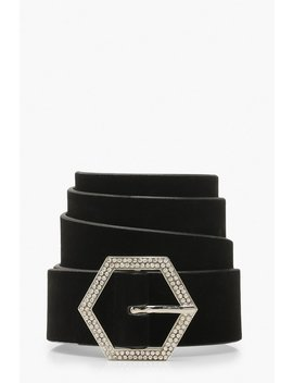 Hexagon Diamante Suedette Buckle Belt by Boohoo