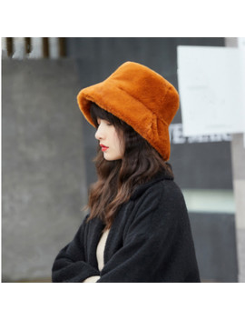 Faux Fur Winter Bucket Hat For Women High Quality Solid Artificial Fur Warm Female Cap Outdoor Sunscreen Sun Hat Panama Lady Cap by Ali Express.Com