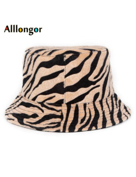 New Autumn 2019 Winter Print Leopard Fur Bucket Hat Women Street Bob Korean Fisherman Hat Panama Hip Hop Bob Chapeau by Ali Express.Com