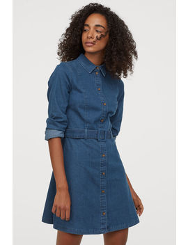 Denim Dress With A Belt by H&M