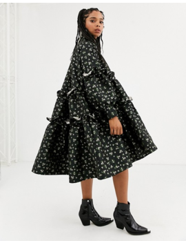Dream Sister Jane Tiered Volume Midi Smock Dress With Button Front In Floral Jacquard by Sister Jane