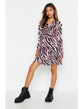 Satin Wrap Covered Button Zebra Dress by Boohoo