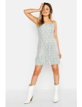 Ditsy Floral Plisse Cowl Neck Shift Dress by Boohoo