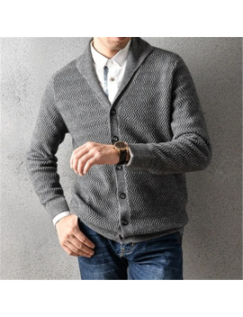 100%Cashmere V Neck Thick Knit Men Smart Casual Solid H Straight Single Breasted Cardigan Sweater 2color S 2 Xl by Ali Express.Com