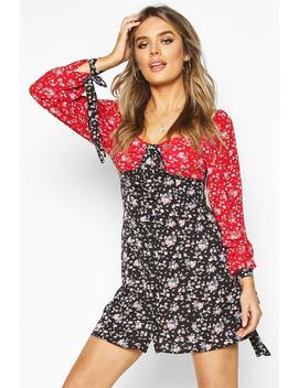 Mixed Floral Print Sweetheart Neck Shift Dress by Boohoo