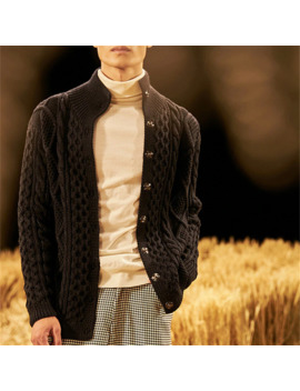 100% Hand Made Pure Wool Turtleneck Knit Men Fashion Solid Loose Cardigan Sweater White 4color Customized by Ali Express.Com
