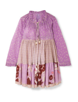 Paneled Printed Cotton Voile Dress by Yvonne S