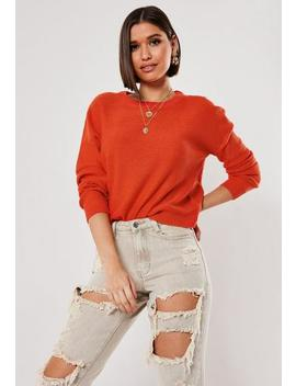 Orange Oversized Crew Neck Balloon Sleeve Jumper by Missguided