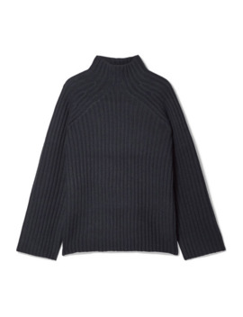 Peach Oversized Ribbed Wool Blend Turtleneck Sweater by By Malene Birger