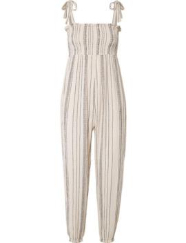 The Jo Jo Smocked Crinkled Cotton Gauze Jumpsuit by Hatch