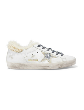 Superstar Shearling Lined Glittered Distressed Leather Sneakers by Golden Goose