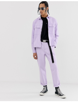 Asos Design Two Piece Relaxed Utility Pants In Washed Lilac by Asos Design