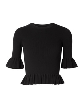 Cropped Ruffled Ribbed Knit Sweater by Michael Kors Collection