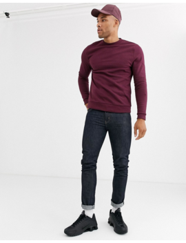 Asos Design Organic Sweatshirt In Burgundy by Asos Design