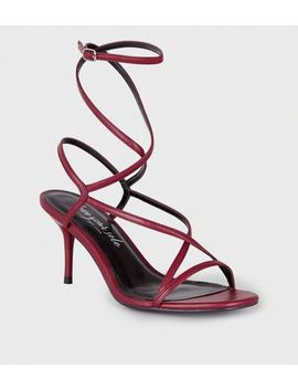 Red Leather Look Strappy Mid Stiletto Heels by New Look