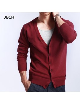Jech Cardigan Men 2017 New Fashion Autumn Winter Warm V Neck Cashmere Wool Sweaters Cardigans Classic Solid Color Mens Sweaters by Ali Express.Com