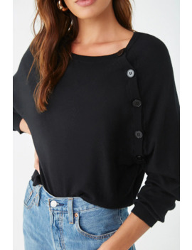 Asymmetrical Button Raglan Sweater by Forever 21