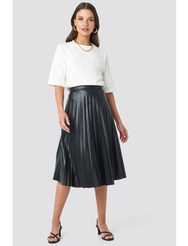 Faux Leather Pleated Midi Skirt Black by Na Kd Trend