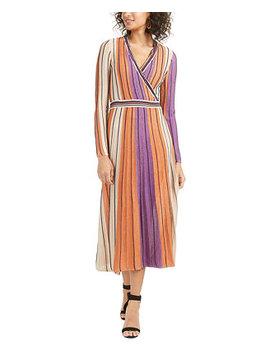 Jayden Striped Metallic Knit Wrap Dress by General