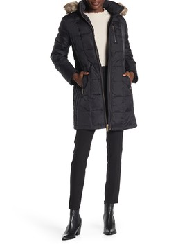 Faux Fur Trim Hooded Down Puffer Jacket by Michael Michael Kors