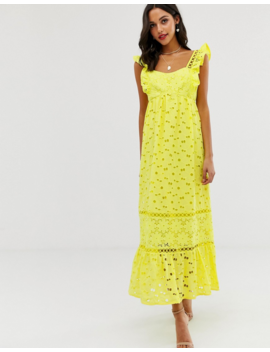 Asos Design Square Neck Trapeze Broderie Maxi Dress by Asos Design
