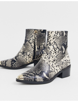 Asos Design Awake Western Toe Cap Boot In Snake by Asos Design