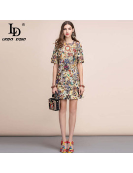 Ld Linda Della 2019 Fashion Runway Summer Dress Women's Short Sleeve Gorgeous Crystal Beading Retro Printed A Line Vintage Dress by Ali Express