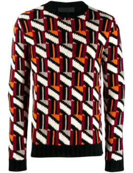 Tessellated Intarsia Knitted Sweater by Prada