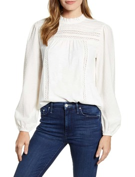 Pintuck Lace Detail Long Sleeve Cotton Blouse by Caslon®