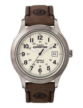 Expedition Metal Field 37mm Leather Strap Watch by Timex