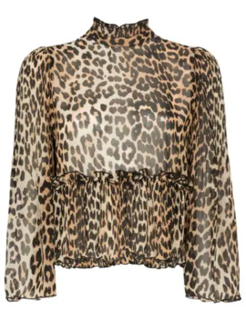 High Neck Leopard Print Blouse by Ganni