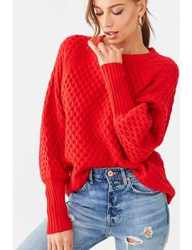 Honeycomb Balloon Sleeve Sweater by Forever 21
