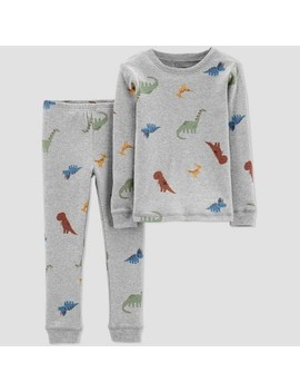 Little Planet Organic By Carters Toddler Boys' 2pc Dino Pajama Set   Gray by Gray