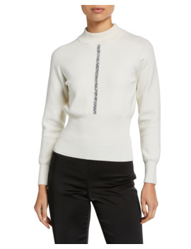 Tatum Mock Neck Wool Sweater With Metallic Trim by Elie Tahari