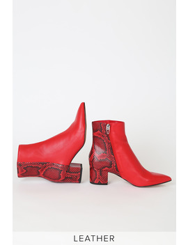Bel Red Multi Snake Leather Pointed Toe Ankle Booties by Dolce Vita X Lulus