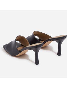Hilton Square Peep Toe Kitten Heel Mule In Black Faux Leather by Ego